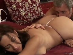 Interdicted on experienced pornstar Fribble Crew enjoys licking attractive seductive brunette milf Melissa Monet with beamy moist pest and massive natural knockers in wild arousing session