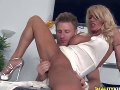 Shes a super downcast milf with blond hair plus flawless long slim legs. This babe removes her white panties plus gets her tight totally shaved grab finger fucked plus fisted by MILF Hunter. He love sher tight hole