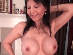 Hot mature caresses her big sketch tits hardily