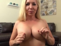 Milf caresses her work tits adjacent to close up