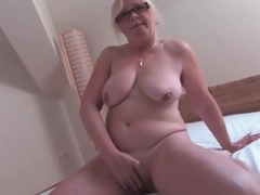 Naked old sweetheart masturbates say no to hairy cunt