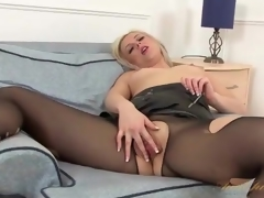 Hole up skirt and pantyhose on sexy milf