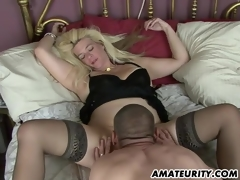 Naughty amateur Milf homemade act with creampie