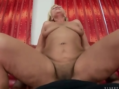Crinite aged cunt rides dick at hand POV porn