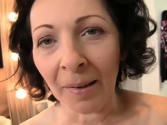 The horny mature works her lovely lips up and down turn this way big cock