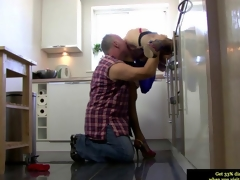 Euro grown-up in stockings gets her twat impaled