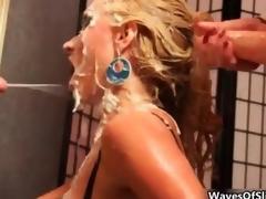 Cum loving blonde gets covered