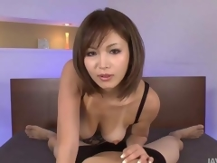 Sexy tanned Mai Kuroki in bed playing with a oversexed guys horseshit diet him cum
