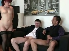 Morose granny fucked by two young living souls at dramatize expunge office