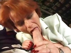 Aged broad in the beam redhead takes a double penetration